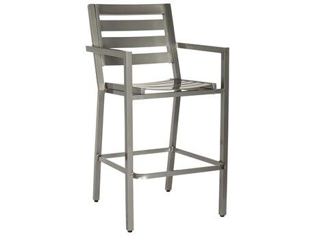 Woodard Palm Coast Slat Aluminum Bar Stool with Arms
