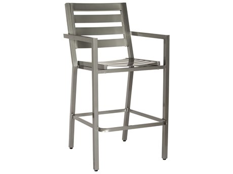 Woodard Palm Coast Slat Aluminum Bar Stool w/ Arms w/ Seat Cushion