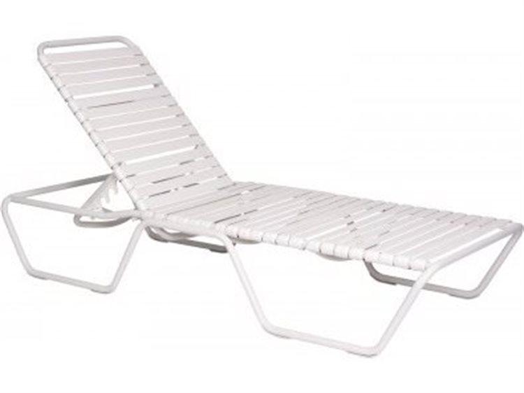 Woodard Quick Ship Baja Aluminum White Strap Chaise Lounge