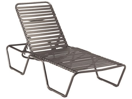 Woodard Baja Strap Aluminum Stackable Adjustable Chaise Lounge