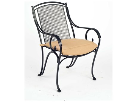 Woodard Modesto Wrought Iron Dining Arm Chair with Cushion