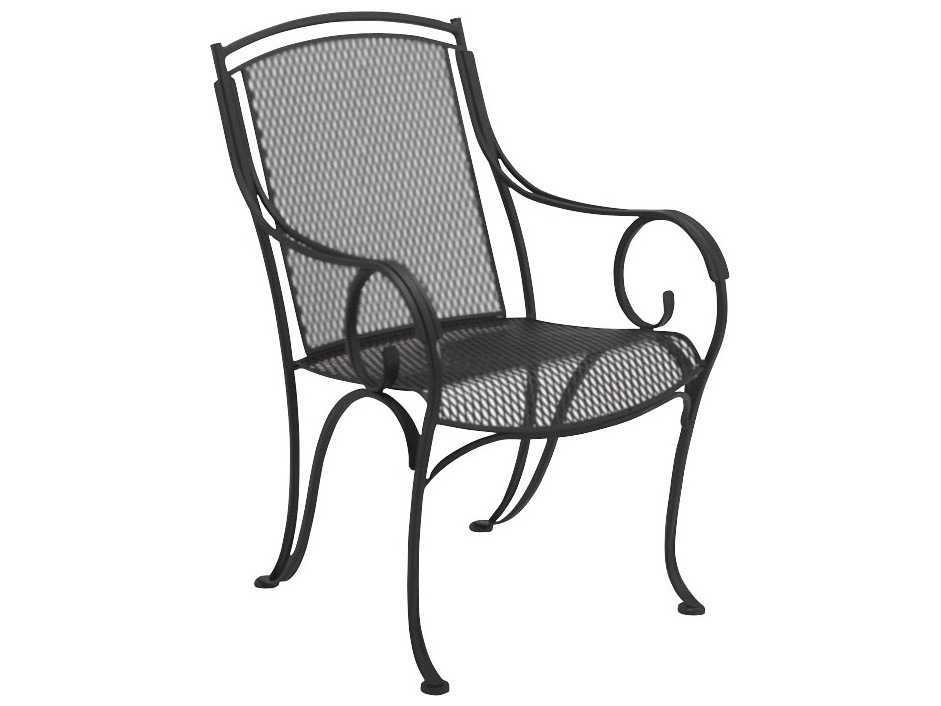 Wrought Iron Arm Chairs ~ Woodard modesto wrought iron dining arm chair