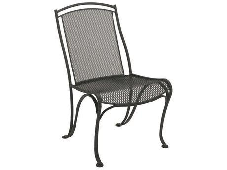 Woodard Modesto Wrought Iron Dining Side Chair w/ Seat Cushion