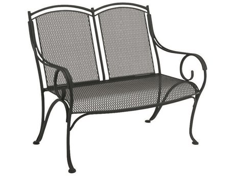 Woodard Modesto Wrought Iron Bench w/ Seat Cushion