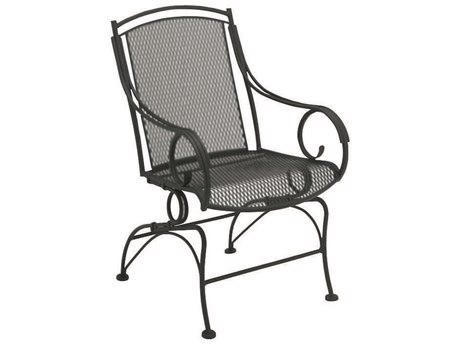 Woodard Modesto Wrought Iron Coil Spring Dining Chair w/ Seat Cushion