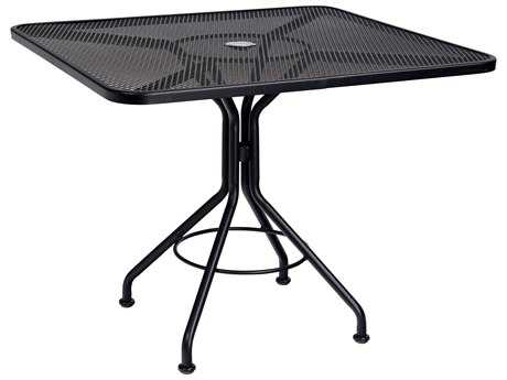 Woodard Mesh Wrought Iron 36 Square Bistro Table with Umbrella Hole
