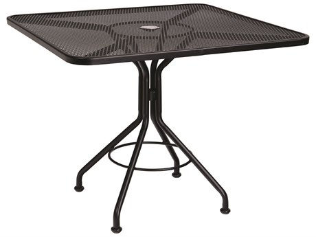 Woodard Wrought Iron Mesh 36''Wide Square Bistro Table with Umbrella Hole