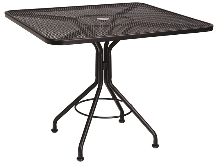 Woodard Wrought Iron Mesh 36''Wide Square Bistro Table with Umbrella Hole PatioLiving