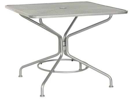 Woodard Quick Ship Mesh Wrought Iron 36 Square Table with Umbrella Hole in Mercury Finish
