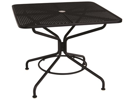 Woodard Mesh Wrought Iron Textured Black 36''Wide Square Dining Table with Umbrella Hole