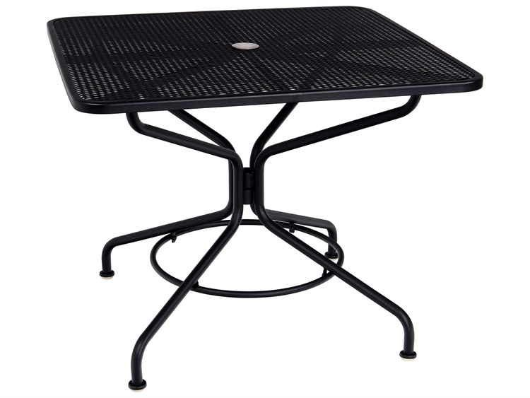 Woodard Mesh Wrought Iron 36 Square Table with Umbrella Hole in Mercury Finish
