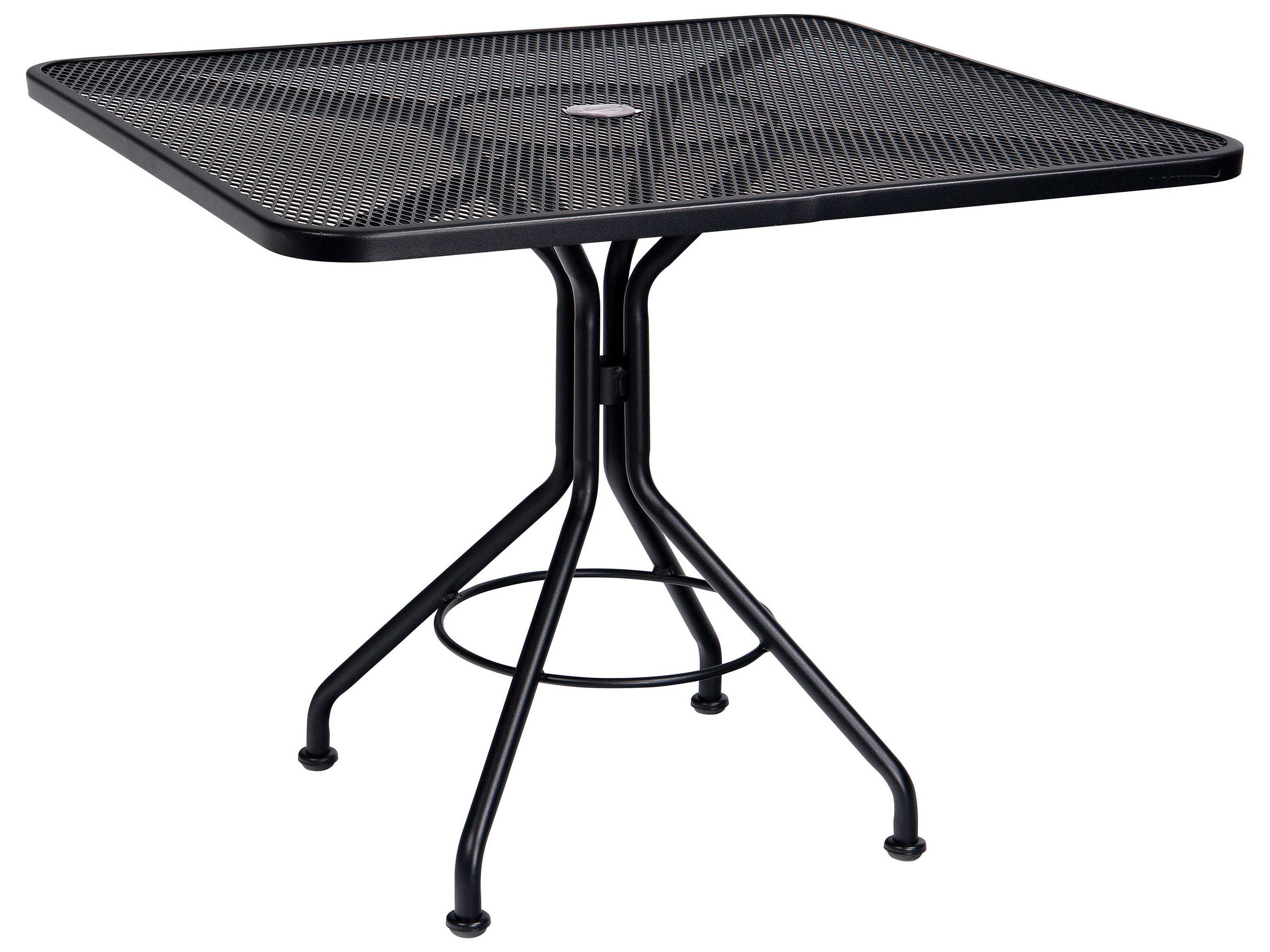 Woodard mesh wrought iron 36 square bistro table with - Picnic table with umbrella hole ...