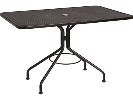 Woodard Wrought Iron Mesh 48''W x 30''D Rectangular Dining Table with Umbrella Hole
