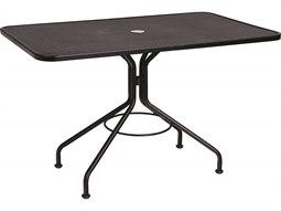 Wrought Iron 48 x 30 Rectangular Table with Umbrella Hole