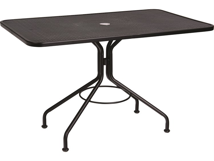 Woodard Wrought Iron 48 x 30 Rectangular Table with Umbrella Hole PatioLiving