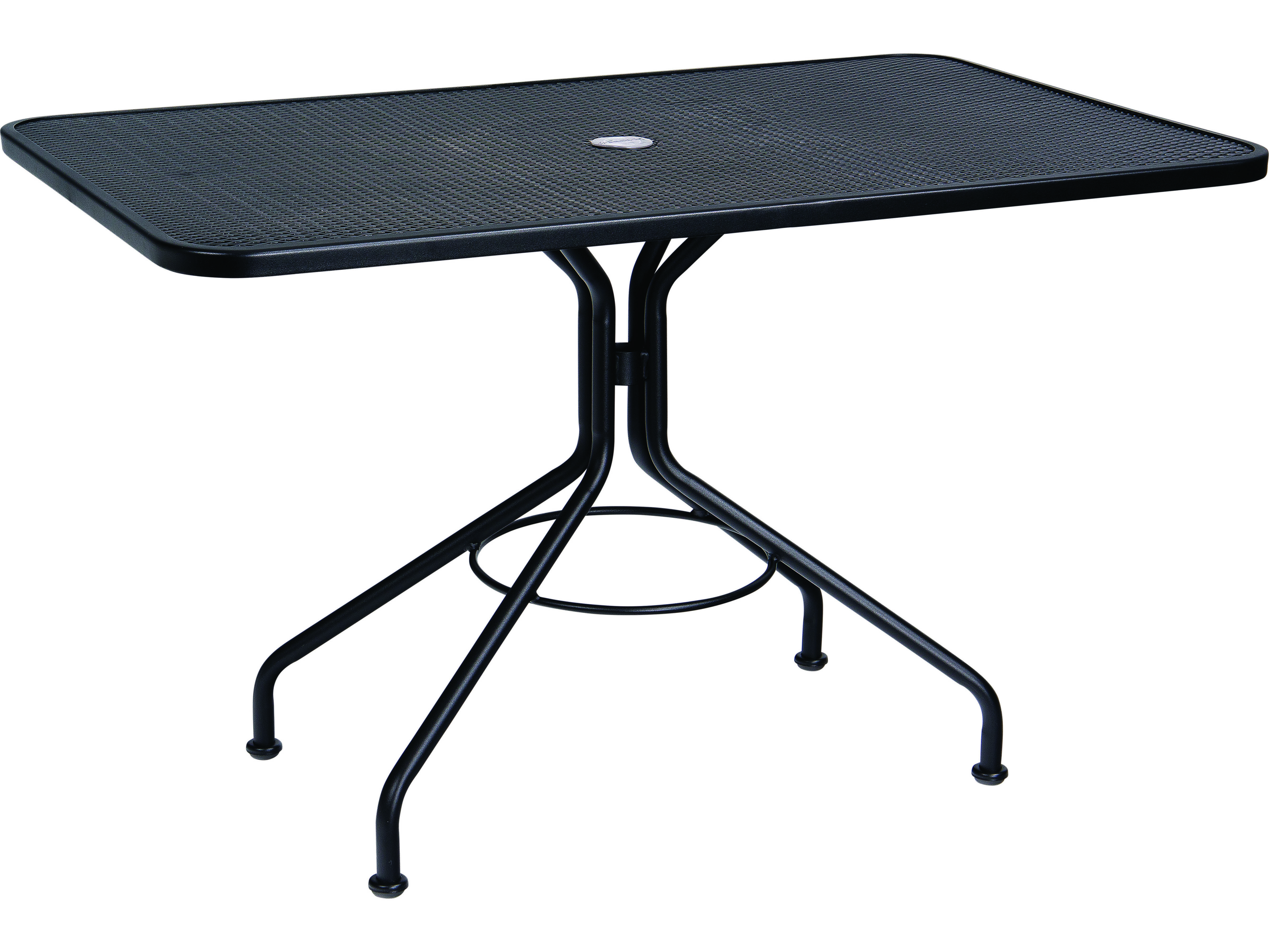 woodard wrought iron 48 x 30 rectangular table with umbrella hole 280030. Black Bedroom Furniture Sets. Home Design Ideas