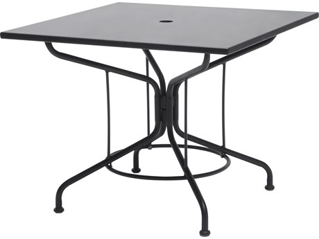 Woodard Wrought Iron 36 Square Table with Umbrella Hole in Textured Black