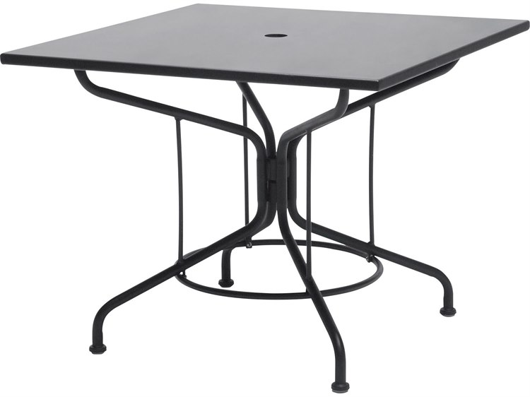02315a9e23fec Woodard Wrought Iron 36 Square Table with Umbrella Hole in Textured Black