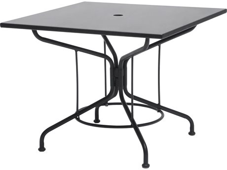 Woodard Wrought Iron 36 Square Table with Umbrella Hole in Mercury Finish