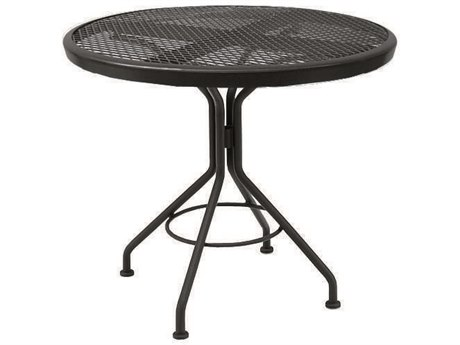 Woodard Mesh Wrought Iron Textured Black 30''Wide Round Dining Table