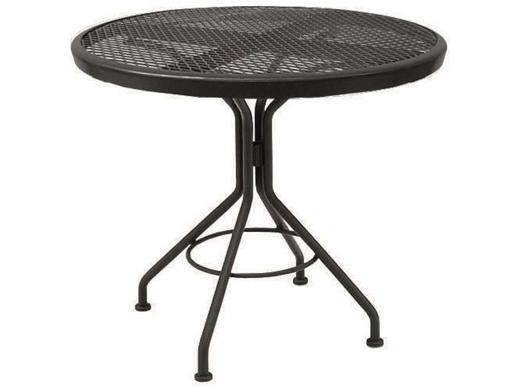 Woodard Quick Ship Mesh Wrought Iron 30 Round Dining Table in Textured Black PatioLiving