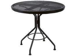 Quick Ship Mesh Wrought Iron 30 Round Dining Table in Textured Black