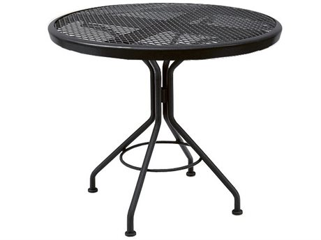 Woodard Quick Ship Mesh Wrought Iron 30 Round Dining Table in Mercury Finish