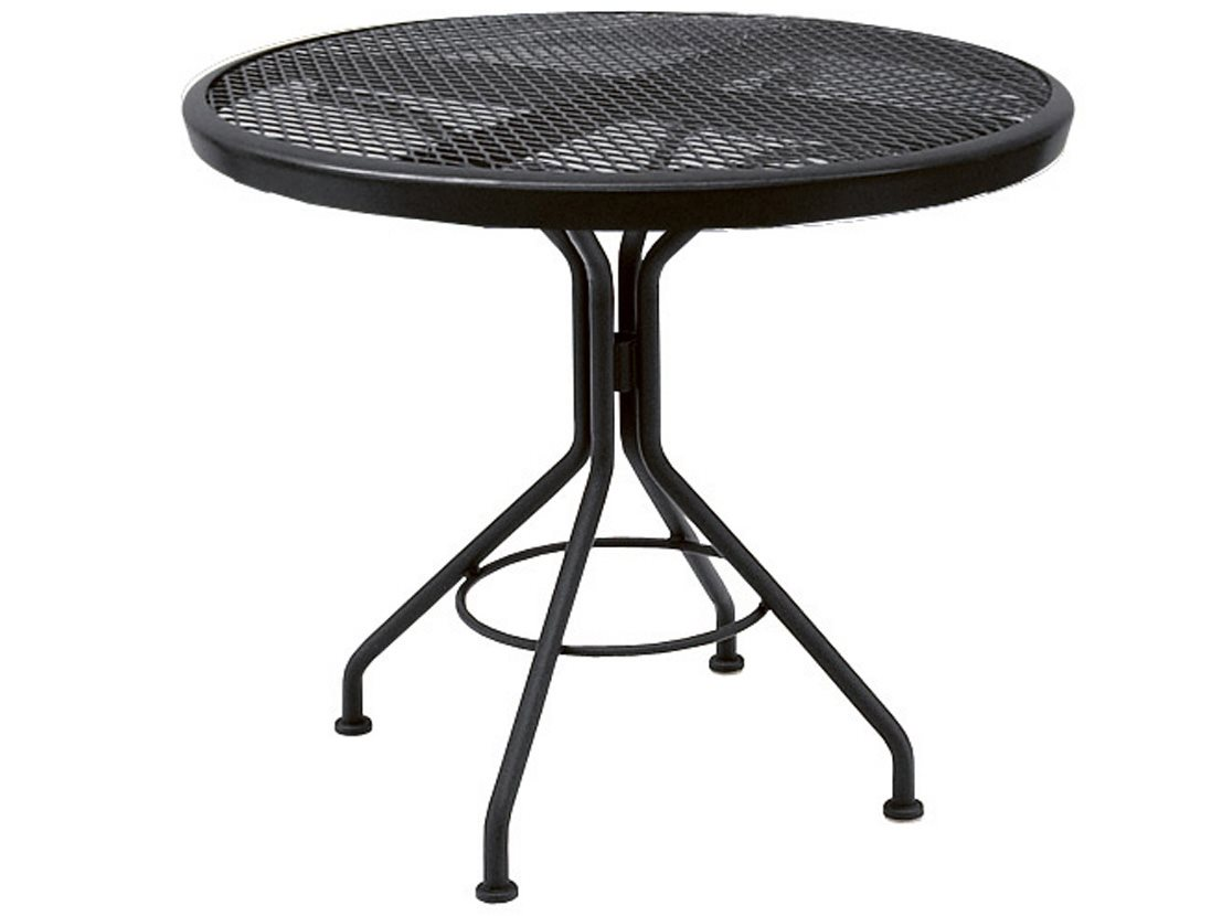 Patio Tables Dining: Woodard Mesh Wrought Iron 30 Round Dining Table In Mercury