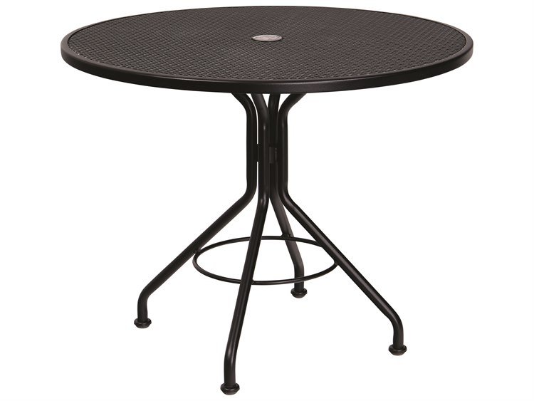 Woodard Wrought Iron Mesh 36''Wide Round Bistro Table with Umbrella Hole PatioLiving