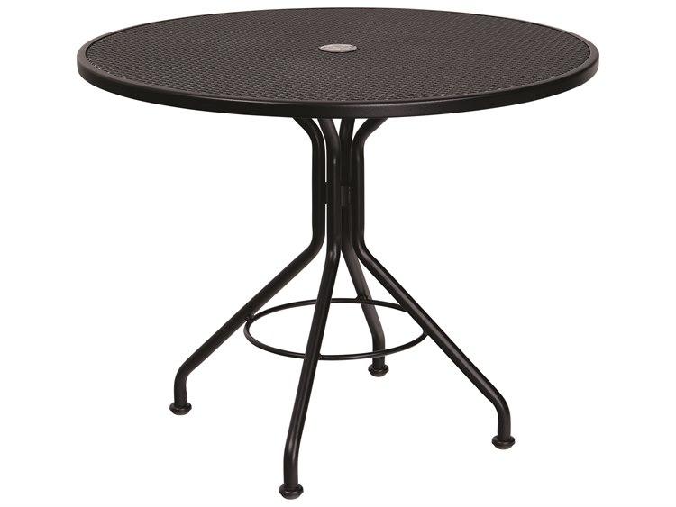Woodard Mesh Wrought Iron 36 Round Bistro Table with Umbrella Hole