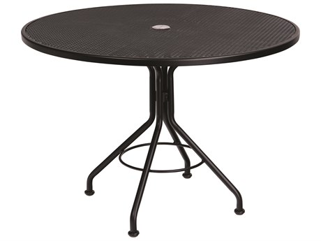 Woodard Wrought Iron Mesh 42''Wide Round Dining Table with Umbrella Hole