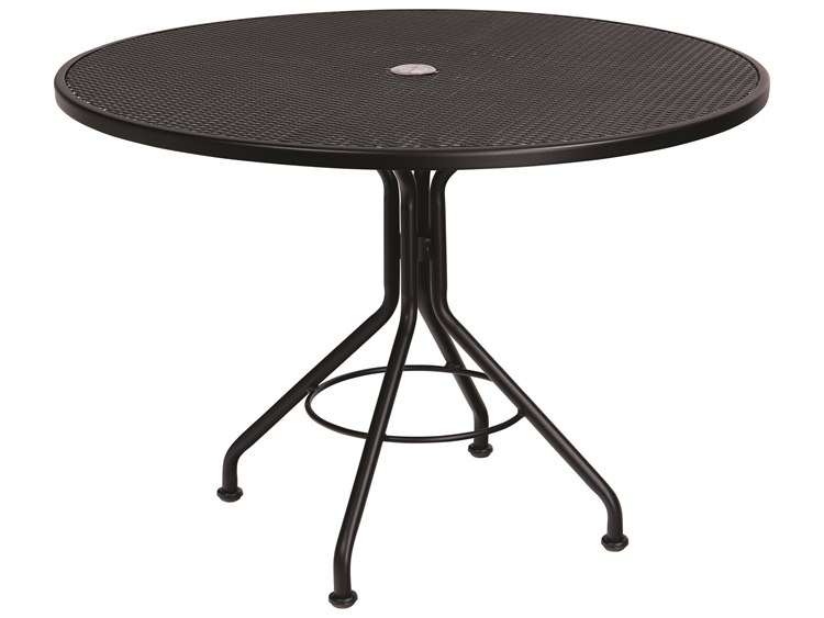 2b5d50fc959e Woodard Wrought Iron 42 Round Table with Umbrella Hole | WR280136