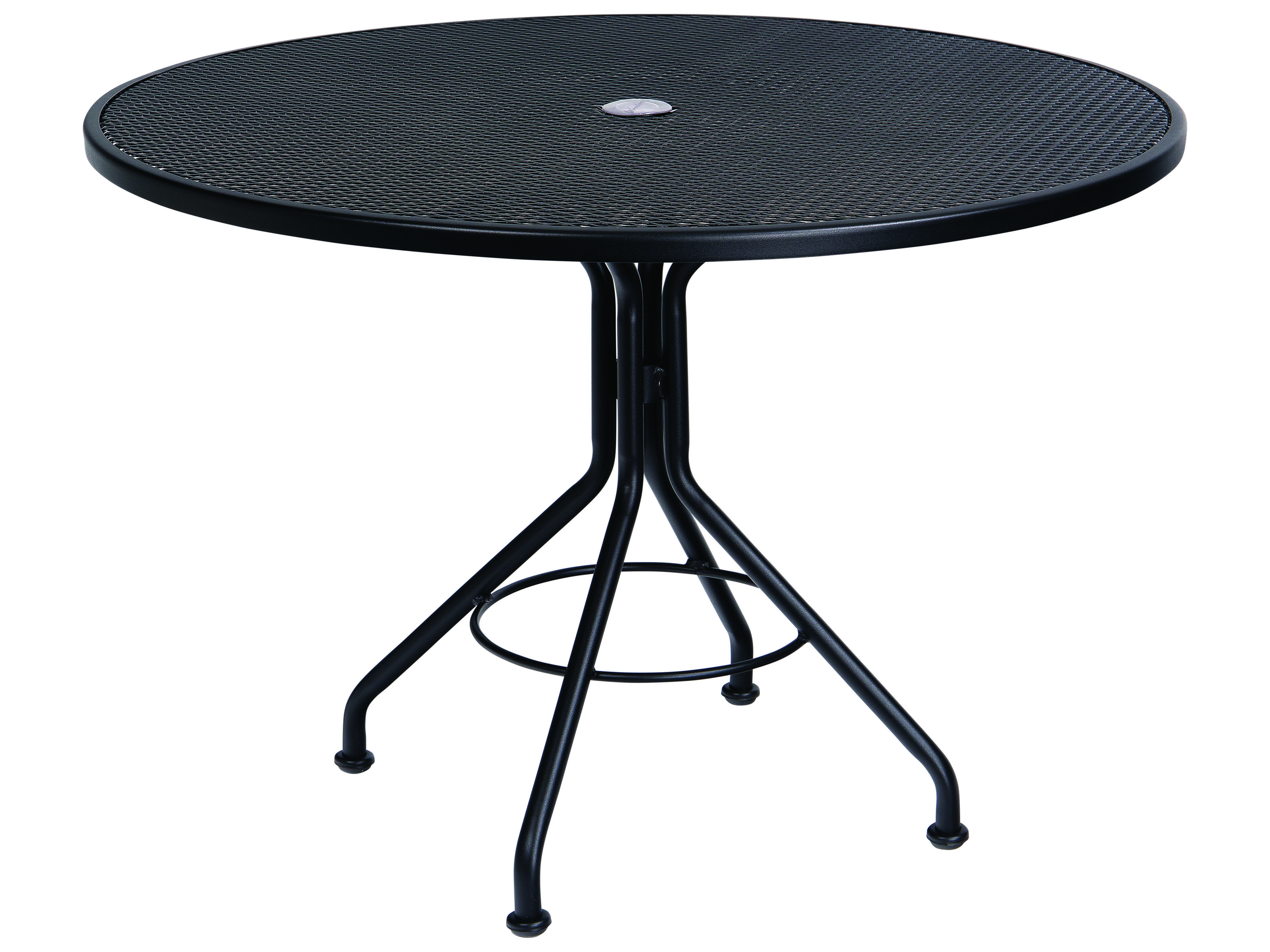 Woodard Wrought Iron Mesh 42 Wide Round Dining Table With Umbrella Hole Wr280136