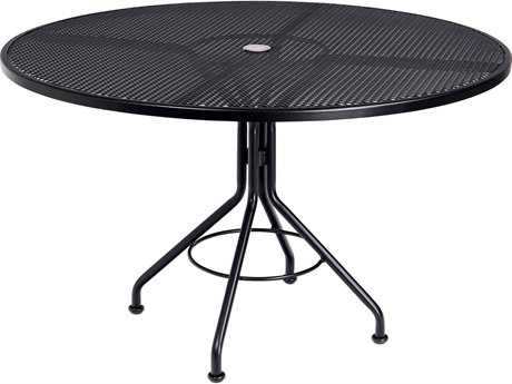 Woodard Mesh Wrought Iron 48 Round Table with Umbrella Hole