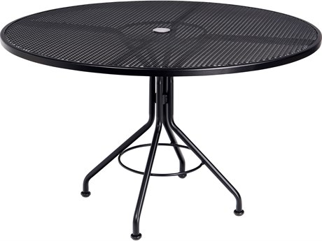 Woodard Wrought Iron Mesh 48''Wide Round Dining Table with Umbrella Hole