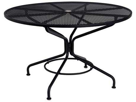Woodard Mesh Wrought Iron 48 Round Table with Umbrella Hole in Textured Black