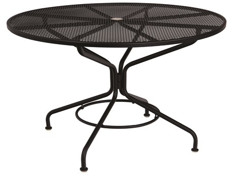 Woodard Quick Ship Mesh Wrought Iron 48 Round Table with Umbrella Hole in Textured Black