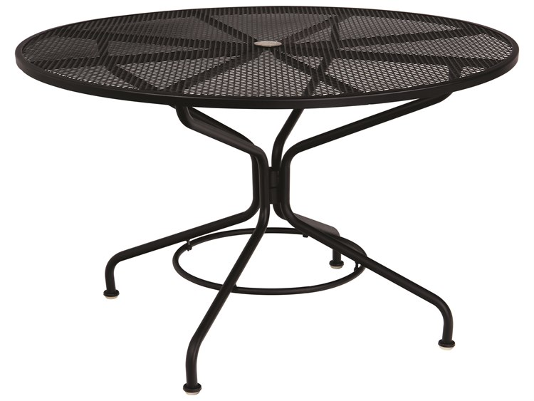 Woodard Mesh Wrought Iron Textured Black 48''Wide Round Table with Umbrella Hole PatioLiving
