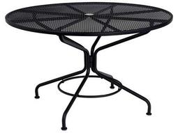 Mesh Wrought Iron 48 Round Table with Umbrella Hole in Textured Black