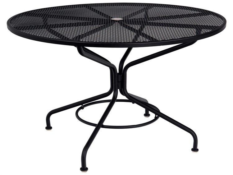 Woodard Quick Ship Mesh Wrought Iron 48 Round Table with Umbrella Hole in Mercury Finish