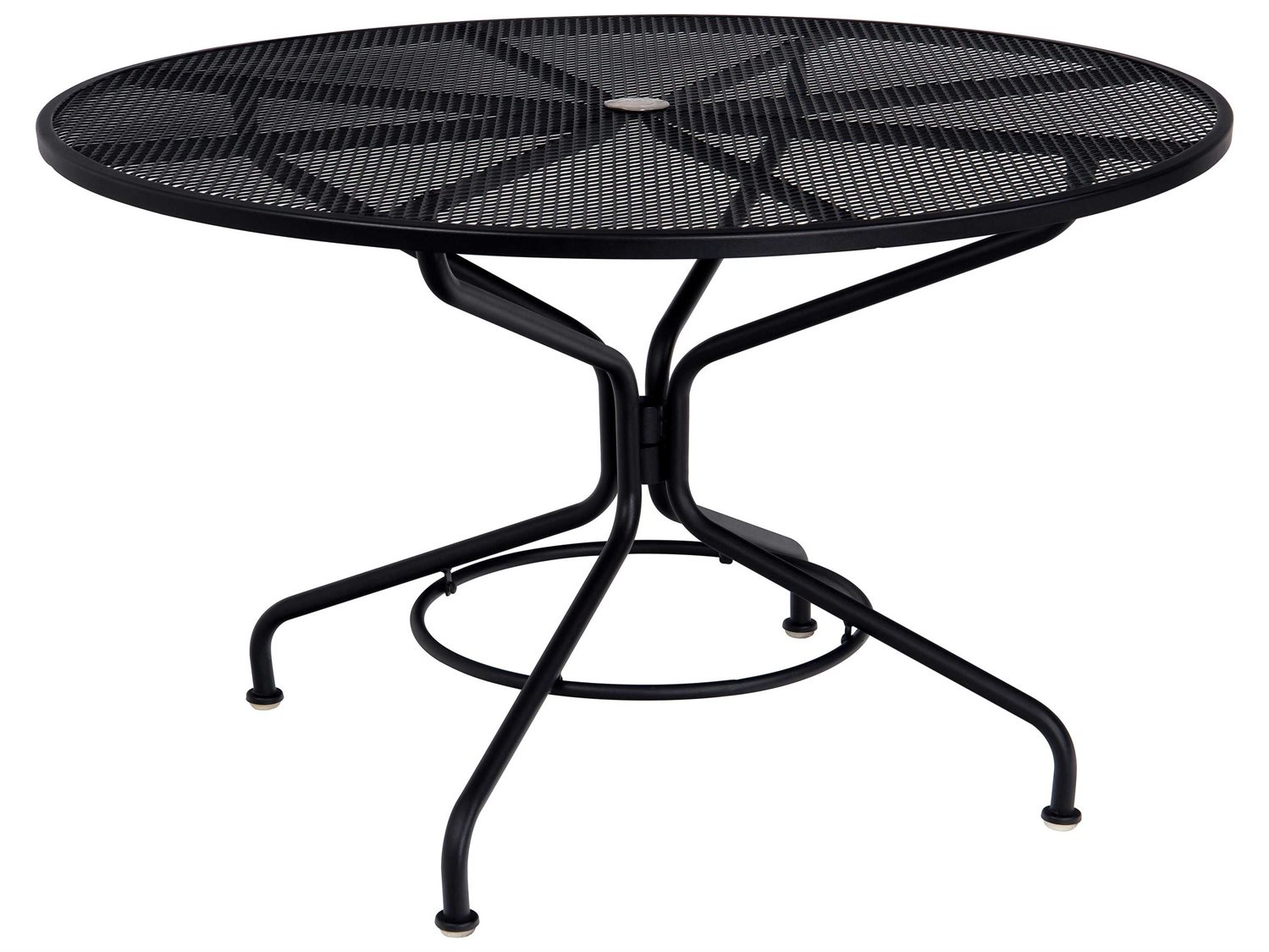 woodard mesh wrought iron 48 round table with umbrella hole in mercury finish. Black Bedroom Furniture Sets. Home Design Ideas
