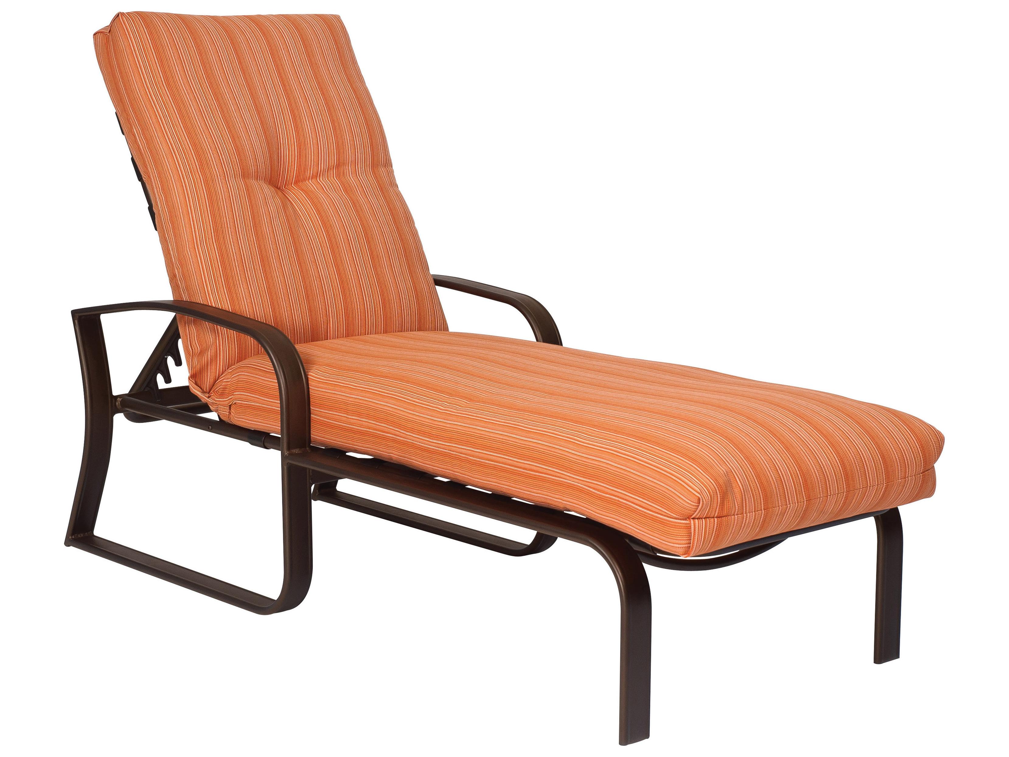 Woodard cayman isle cushion adjustable chaise lounge 2e0470 for Chaise lounge cushions