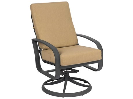 Woodard Cayman Isle Cushion Aluminum Swivel Rocker Dining Arm Chair