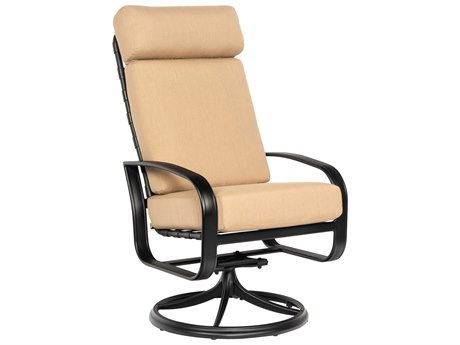Woodard Cayman Isle Cushion Aluminum High Back Swivel Rocker Dining Arm Chair