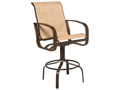 Woodard Cayman Isle Sling Aluminum Swivel Bar Stool