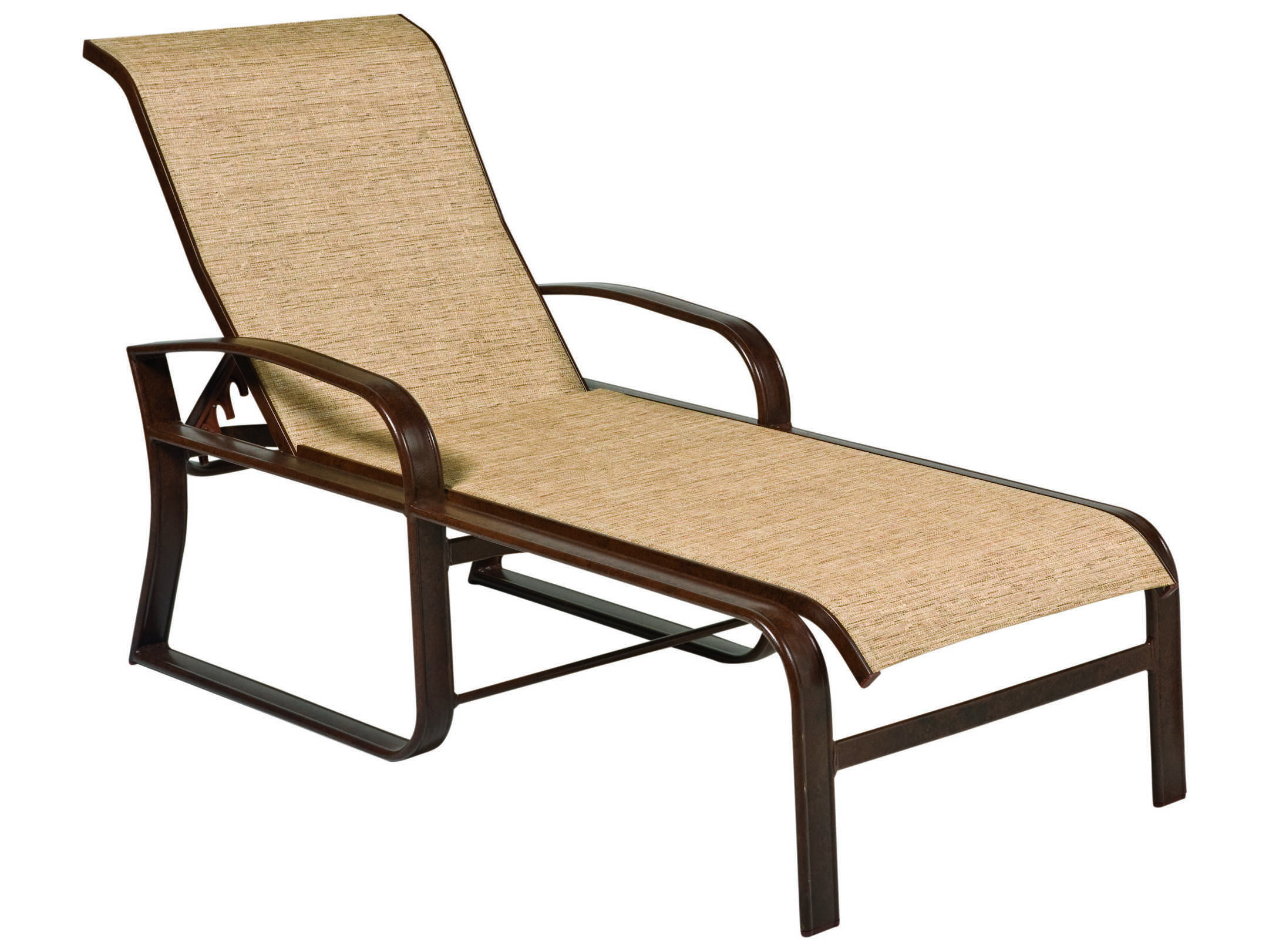 Woodard cayman isle sling aluminum adjustable chaise for Chaise lounge aluminum