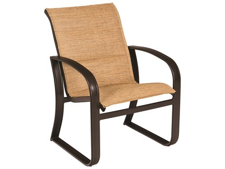 Woodard Cayman Isle Padded Sling Aluminum Dining Arm Chair