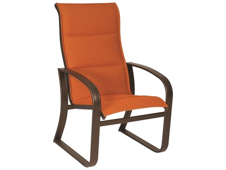 Woodard Cayman Isle Padded Sling Aluminum High Back Dining Arm Chair