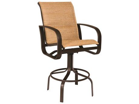 Woodard Cayman Isle Padded Sling Aluminum Swivel Bar Stool