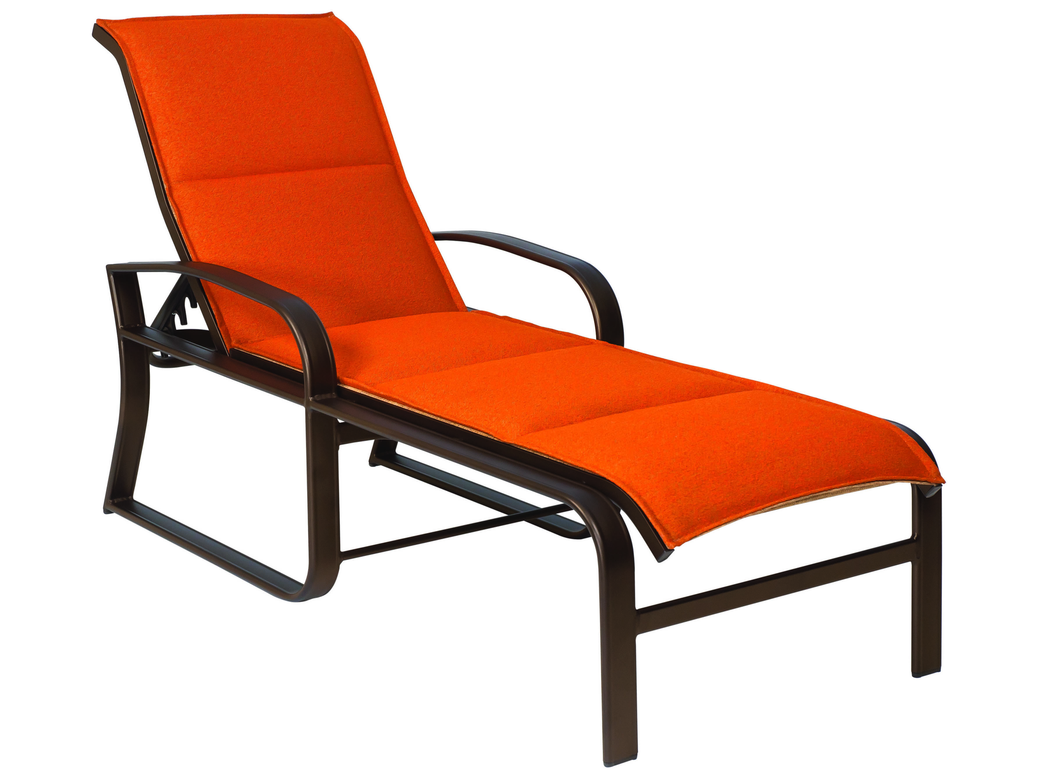 Woodard cayman isle padded sling aluminum adjustable for Chaise lounge construction